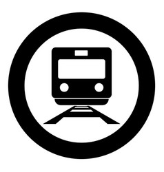 train icon black color in circle vector image