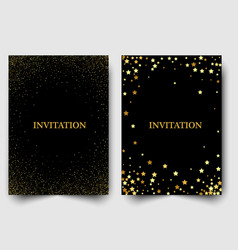 two template design of invitation with gold sequin vector image