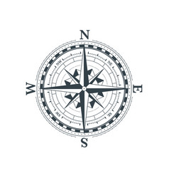 vintage wind rose symbol classic compass icon on vector image