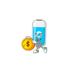 Wall hand sanitizer rich have big gold coin vector
