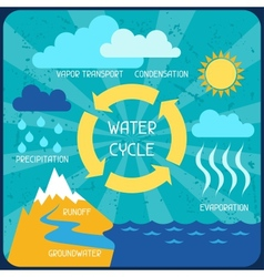 Water cycle poster with nature infographics vector