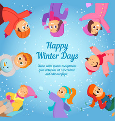 winter background with happy school kids poster vector image