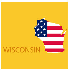 Wisconsin state of america with map flag print on vector