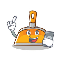 with phone dustpan character cartoon style vector image