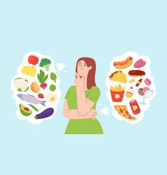 woman on food diet healthy and unhealthy products vector image