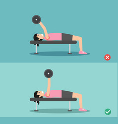 Woman wrong and right barbell bent press posture vector