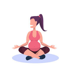 young pregnant woman practicing yoga happy girl vector image