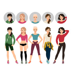 young women in sport clothes vector image