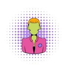Zombie icon in comics style vector image