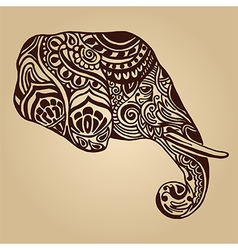 abstract elephant in Indian style mehndi vector image