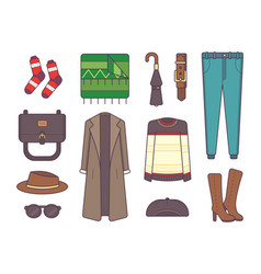 big set of stylish winter clothes and accessories vector image