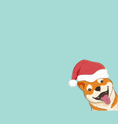 cute shiba inu dog with copy space vector image