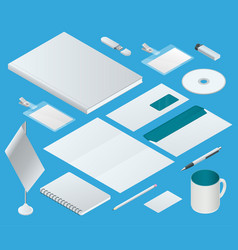 isometric corporate identity template set vector image