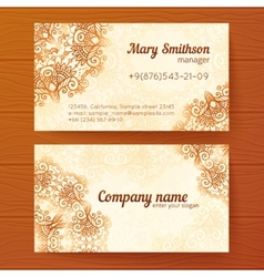 Ornate vintage business cards template vector image vector image