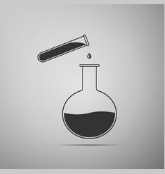 test tube and flask chemical laboratory test icon vector image