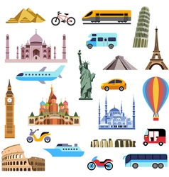 Tourism flat icons set vector image vector image