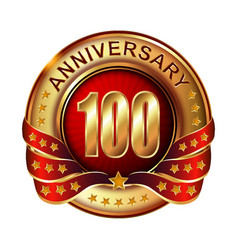 100 anniversary golden label with ribbon vector image