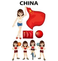 China representative and many sports vector image vector image