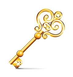Object retro golden key vector