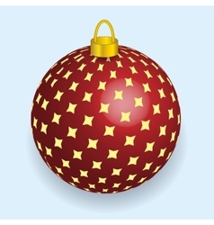 Red with yellow stars christmas ball reflecting vector