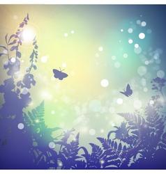Summer Landscape Flowers Silhouette vector image