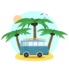 Surf Van and palm Flat Design vector image vector image