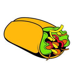 wrap sandwich icon cartoon vector image