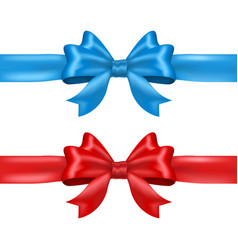 blue and red tied ribbon bows vector image