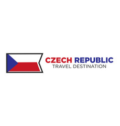 czech republic flag with travel destination words vector image