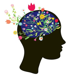 Girl head silhouette with flowers vector image vector image