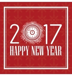happy new year 2017 greeting card white clock text vector image