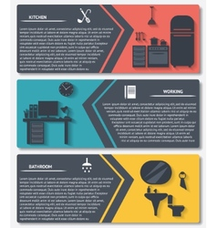 info graphic of house interior banners vector image