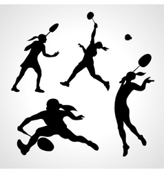 Silhouettes of women professional badminton vector image vector image