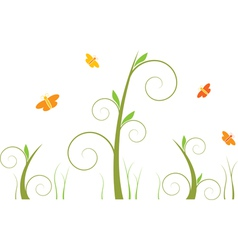 swirls and butterflies vector image vector image