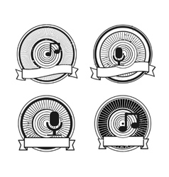 Black and white record microphone stamp vector image vector image