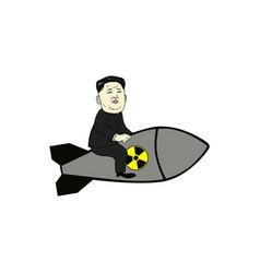kim jong-un control nuclear missile flat design vector image