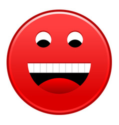 Red smiling face cheerful smiley happy emoticon vector