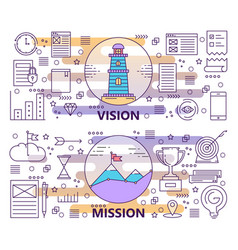 set of modern thin line vision and mission vector image vector image
