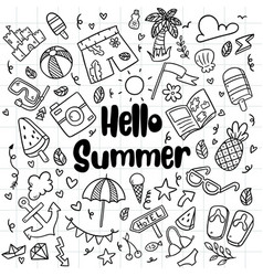014 hand drawn summer beach doodles isolated vector