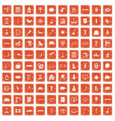 100 balance icons set grunge orange vector