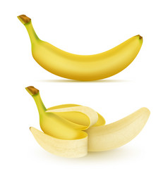 3d realistic yellow banana set vector image