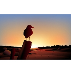 A sunset view of the desert with big bird vector