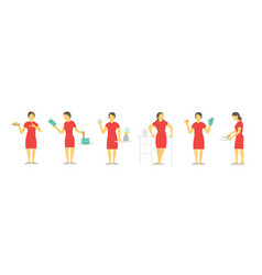 A woman set of different poses preparation food vector