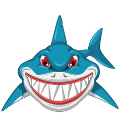 angry shark cartoon vector image