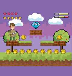arcade game world and pixel scene design vector image