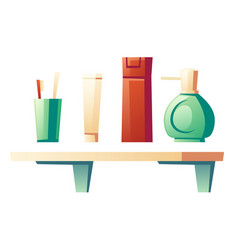 bathroom shelf with cosmetic products vector image