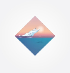 Beautiful colorful geometric symbol with harp seal vector image