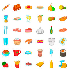 big dinner icons set cartoon style vector image