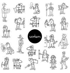 Black and white workers characters set vector