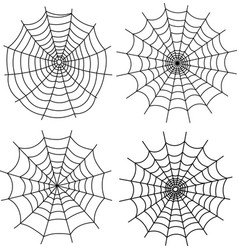 Black halloween spiderweb on white vector